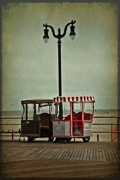 A Photo of two surrey carts on the Boardwalk at Atlantic City New Jersey  The Only Way to See the Boardwalk !
