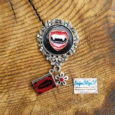 Vampire badge reel. Vampires are coming. Halloween is right around the corner. Be careful! Vampire pin or badge reel