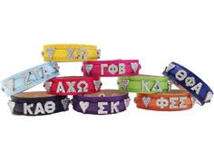 Sorority Leather Bling Bracelets with Crystal Greek Letters | Key Your Spirit, LLC