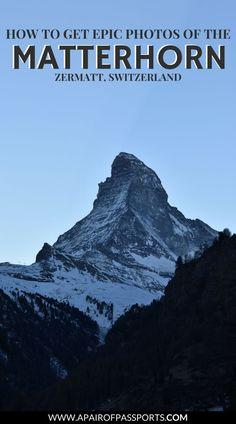Zermatt, Switzerland - Best Spots for Photos of the Matterhorn Europe Destinations, Europe Travel Tips, Travel Advice, Ski Europe, Travel Guide, Switzerland Places To Visit, Switzerland Vacation, Switzerland Itinerary, Zermatt