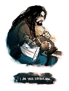 """""""Your father followed me to the very doors of Moria and fell. But all is not lost. I will raise you strong, I will raise you valiant, and you will protect your kin. I am your father now, Fili, son of Durin's line.""""    -    Thorin, an exemplary uncle to his sister-sons, Fili and Kili. <3"""