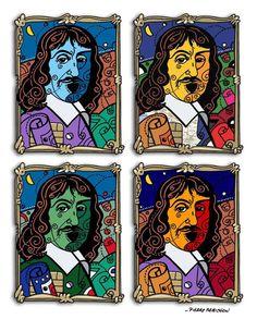 Une variation sur le portrait de Descartes : Descartes bleu(e) Descartes Michelin Descartes AM EXPRESS Descartes Master card