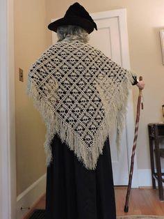 Elegant Crochet Skull Shawl for Halloween Witch Costume