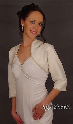 Ivory satin bolero jacket bridal shrug wedding by SpAZooiEBridal, $37.50