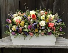 Dried Flower Arrangement in a Wood Planter Box