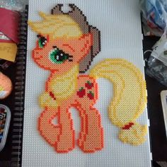 MLP Applejack perler beads by matt_chimp_81