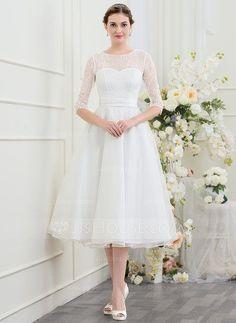 [US$ 146.69] A-Line/Princess Scoop Neck Tea-Length Organza Wedding Dress With Beading (002095819)