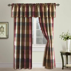 """Plaid Panel Color: Burgundy, Size: 84"""" H x 54"""" W by United Curtain Co.. $21.00. PL84BURG Color: Burgundy, Size: 84"""" H x 54"""" W One Panel Only Features: -One Panel.-Modern yet accessible.-Bold, breathtaking woven plaid and toppers.-Wide rod pocket.-Machine wash cold, tumble dry low, cool iron, never bleach."""