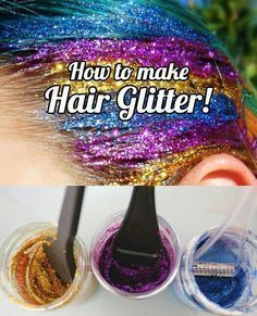Crazy hair day More How to make hair glitter tutorial. No mess method to make your own DIY hair glitter at home, plus how to apply and what NOT to do! Sparkle and shine. Diy Hair Glitter, Glitter Roots, Glitter Heels, Blue Glitter, Glitter Slides, Glitter Bomb, Glitter Eyeliner, Glitter Force, Glitter Vinyl