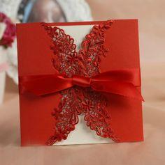faire part de mariage dentelle rouge avec le noeuds JM627 faire part de mariage pas cher, sur mesure - joyeuxmariage.fr