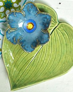 poppy prep bowl ceramic flower bowl dusk blue by OneClayBead, $19.00