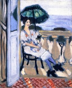 Woman Seated on the Balcony, Green Umbrella, Violet Stockings - Henri Matisse - The Athenaeum