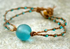 Teal Sea Glass Bracelet with Braided Seed Beads MADE TO ORDER