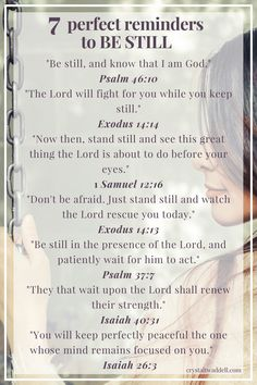 When the Hardest Grace is to Be Still - Crystal Twaddell 7 Perfect Reminders to Be Still Prayer Scriptures, Bible Prayers, Faith Prayer, Prayer Quotes, Bible Verses Quotes, Spiritual Quotes, Faith Quotes, Healing Scriptures, Healing Quotes