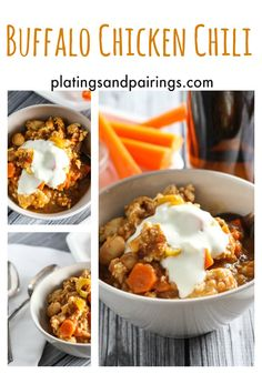Buffalo Chicken Chili - I'm from Buffalo and LOVE this twist on an irreplaceable classic! platingsandpairings.com .