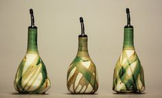 SOLD OUT - Contact me to reserve one for the next firing.  Green Olive Oil Bottle Ceramic Olive Oil Bottle - Various Prices
