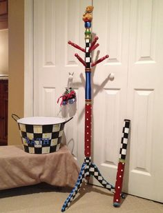 Whimsical Painted Furniture, Custom-Painted to Suit - Personalized Hand Painted Coat Rack Clothes Tree Childrens Adult hand painted Tree Coat Rack, Coat Tree, Coat Racks, Whimsical Painted Furniture, Painted Bedroom Furniture, Painting Furniture, Furniture Design, Mackenzie Childs Inspired, Coat Paint