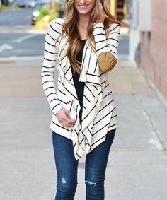 Another great find on #zulily! Ivory & Black Stripe Open Cardigan by So Perla #zulilyfinds