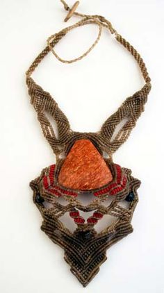 Necklace | Black Pacha.  Peruvian Red Jasper, Macrame and tiger eye beads.