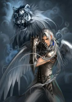 Male Fantasy Warrior, White Tiger - silver, gray, blue, fantasy art, warrior, male, man, tiger, beast, creature, beautiful, weapon, strong, muscles, masculin, amazing.