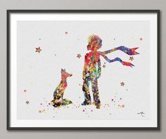 The Little Prince inspired 3 Le Petit Prince with Fox Watercolor illustrations Art Print Wall Decor Art Home Decor Wall Hanging No 197