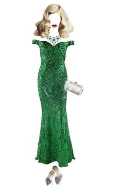 """""""Glamorous Green"""" by brooksie1920 ❤ liked on Polyvore featuring Gucci, GREEN, Gowns, fashionset and invisibledolls"""
