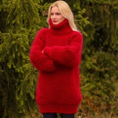 SUPERTANYA RED Hand Knitted Mohair Sweater Ribbed Thick Turtleneck Soft Pullover | eBay