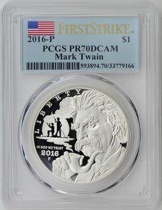 2016-P Mark Twain Dollar First Strike Label MS70 Commem MS70 PCGS
