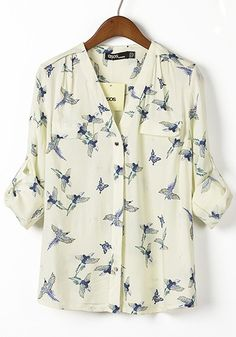 White Bird Print V-neck Long Sleeve Chiffon Blosue