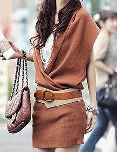 Women's V Neck Raglan Sleeve Knit Dress Give Belt Sweater