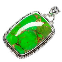 "Green Copper Composite Turquoise 925 Sterling Silver Pendant 1 1/2"" PD556597"