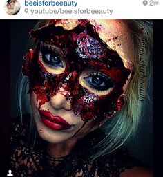 masquerade sfx mask PART 2 halloween makeup tutorial Creepy Makeup, Sfx Makeup, Cosplay Makeup, Costume Makeup, Makeup Kit, Looks Halloween, Scary Halloween, Halloween Face Makeup, Horror Make-up