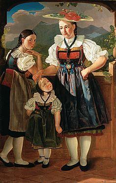 Drei Mädchen in Luzerner Trachten - SIKART Lexikon zur Kunst in der Schweiz