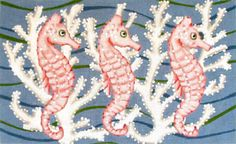 Shop Sea Animals on Needlepoint. Needlepoint Designs, Needlepoint Canvases, Seahorse Art, Seahorses, Rug Inspiration, Hand Painted Canvas, Bargello, Animal Paintings, Cross Stitch Designs