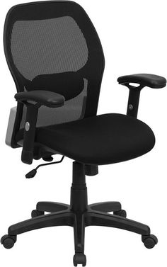 Mid-Back Super Mesh Office Chair with Black Fabric Seat LF-W42B-GG by Flash Furniture