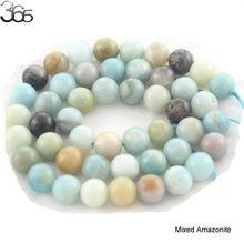 "Free Shipping Natural Stone Mixed  Aqua Amazonite Round Loose Beads 16"" Strand 4 6 8 10 12 MM Pick Size For Jewelry Making(China (Mainland))"