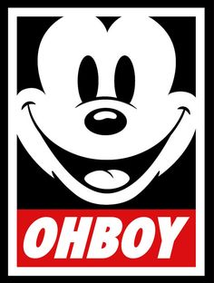 """OH BOY"" Mickey print... this would be cute over a food table."