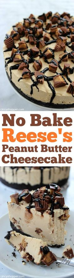 No Bake Reese's Peanut Butter Cheesecake loaded with smooth and creamy peanut butter plus yummy Reese's Peanut Butter Cups in just about every single bite. Would so make it if peanut butter cups weren't so expensive in Australia No Bake Desserts, Just Desserts, Delicious Desserts, Dessert Recipes, Yummy Food, Light Desserts, Baking Desserts, Recipes Dinner, Drink Recipes