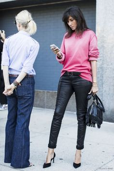 Emmanuelle Alt in Pink Sweater Leather Pants and Black Pumps