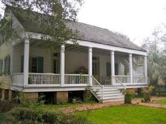 Building virtually until I can build otherwise. Revival Architecture, Architecture Details, Southern Architecture, Louisiana Homes, Louisiana Plantations, Town House Plans, Acadian Style Homes, Cracker House, Creole Cottage