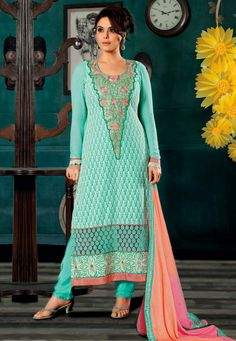 An Aqua green Color Pure Georgette straight Cut Suit embellished with patch resham and stone work embroidered yoke