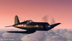 Navy Corsair in flight. One of the most recognizable planes if the Pacific Theater WWII