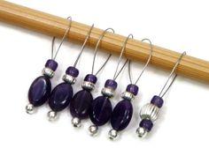 Beaded Purple Amethyst Stitch Markers Set Snag Free by TJBdesigns, $7.50