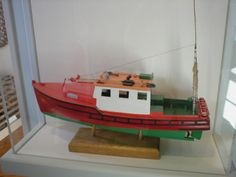 "Rigged model of trawler ""Jeanne S"" from the Chatham Historical Society Fishing Gallery. #chatham, #chathamhistoricalsociety, #fishing, #trawler, #ship, #atwoodhouse, #capecod"