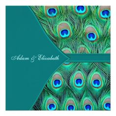 Teal Peacock Wedding Custom Invites