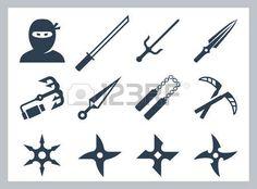 samourai: Ninja et des armes de ninja vecteur, icône, ensemble