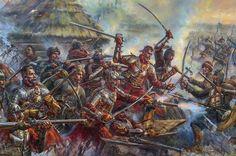 Polish hussars in battle against Ukrainian cossacks High Fantasy, Fantasy Rpg, Medieval Fantasy, Military Art, Military History, Early Modern Period, Military Pictures, Knight Armor, Medieval Armor