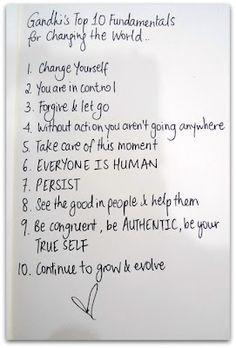 Gandhi's Top 10 Fumdamentals for World Change