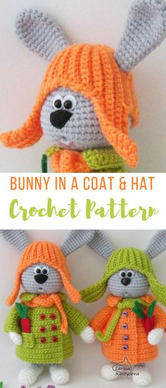 CUTE as a button! Little crochet bunny rabbitt in a button-down coat and hat with earflaps pattern Wow, the creativity never ceases to amaze me with these crochet patterns #amazing #adorbs #crochet #crochetpattern #crochetbunnyrabbit #crochetbunnypattern #crocheteasterpatterns #crochetamigurumi #bunnyrabbits #affiliate