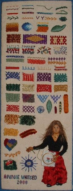 This is a Sampler of Stumpwork Stitches  It measures 12cm x 34cm (5 in x 13 in) and includes a self Portrait.
